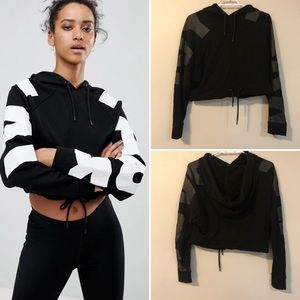 Ivy Park Cropped Hoodie With Logo Arm In Black